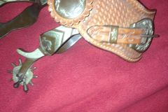 Selling: Men Rodeo Show Spurs Silver Inlay Leather Spur Straps Jingle