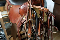 Selling: Many horse products, including western saddle and boots