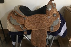 Selling: Reinsman Show Saddle with Silver Overlay 16""