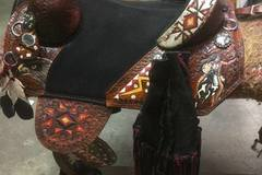 "Selling: Custom ""Crazy Horse"" Indian Warrior Barrel Racing Saddle 15"""