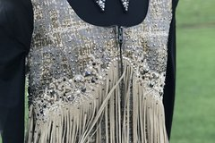 Selling: Woman Rustic Gold Fringe Show Vest Size B38-W31-H35