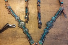 Selling: Black and Teal Luans Leather Tack Set