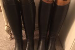 Selling: 2 prs black English Dressage boots, ladies size 11 narrow